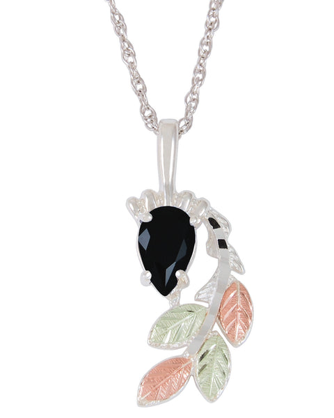 Black Hills Gold Sterling Silver Cascading Leaf Pendant with Onyx