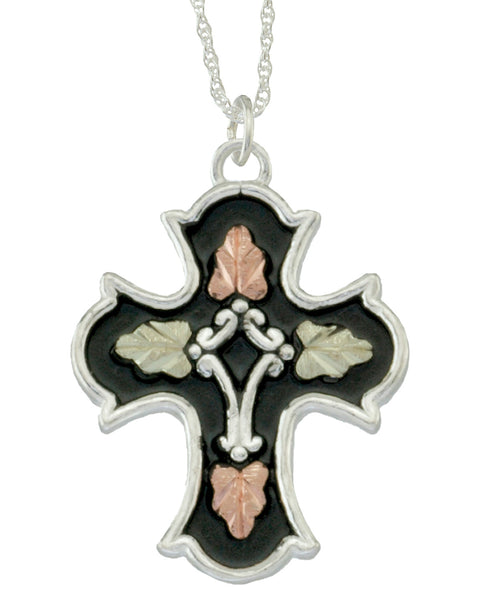 Black Hills Gold Sterling Silver Antiqued Cross Pendant