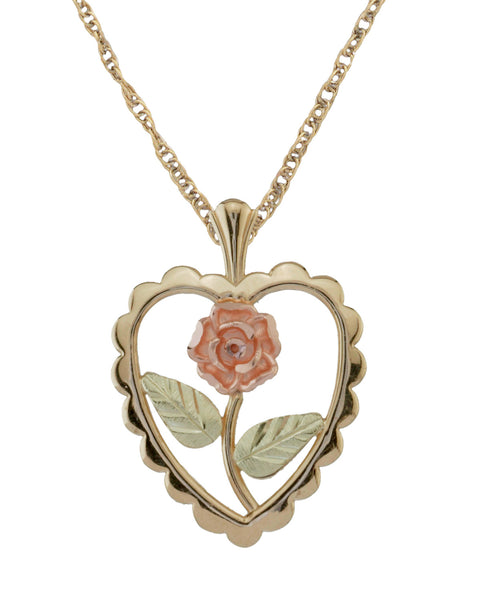 Black Hills Gold 10K Scalloped Heart and Rose Pendant
