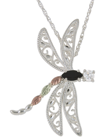 Black Hills Gold Sterling Silver Large Dragon Fly Pendant with CZ and Onyx