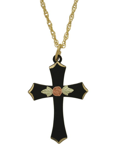 Black Hills Gold Black Cross Pendant