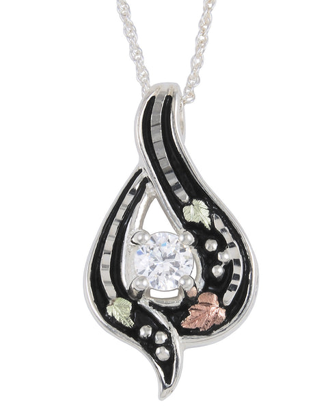 Black Hills Gold Sterling Silver Antiqued Pendant with CZ