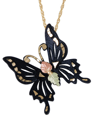 Black Hills Gold Powder-Coat Butterfly Pendant