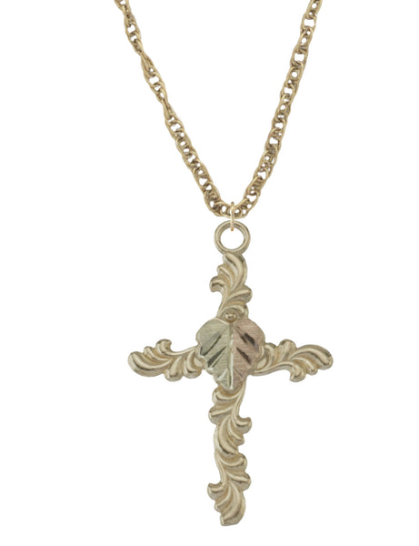 Black Hills Gold 10K Split Leaf Cross Pendant