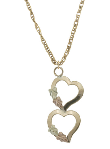 Black Hills Gold Double Heart Drop Pendant - Wall Drug Store