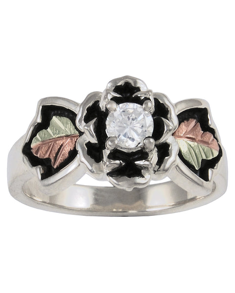 Black Hills Gold Sterling Silver Antiqued Flower Ring