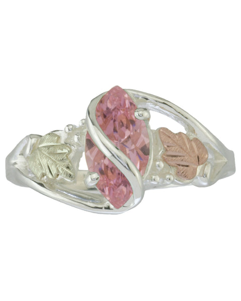 Black Hills Gold Sterling Silver Ring with Pink Ice - Wall Drug Store