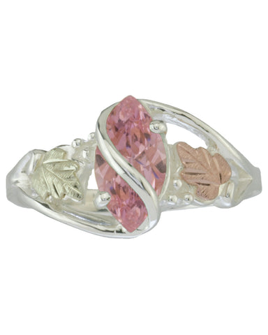 Black Hills Gold Sterling Silver Ring with Pink Ice