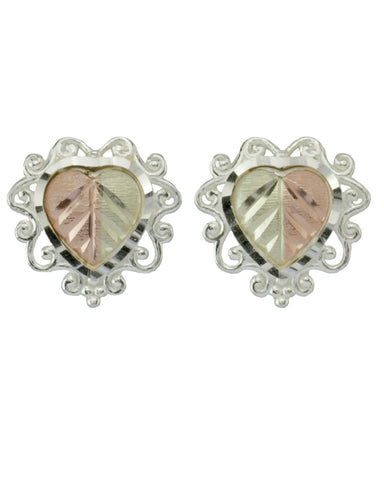 Black Hills Gold Sterling Silver Heart Earrings - Wall Drug Store