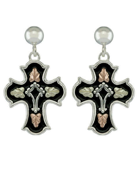 Black Hills Gold Sterling Silver Antiqued Cross Earrings