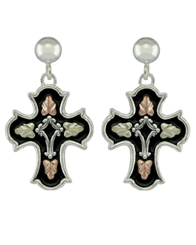 Black Hills Gold Sterling Silver Antiqued Cross Earrings - Wall Drug Store