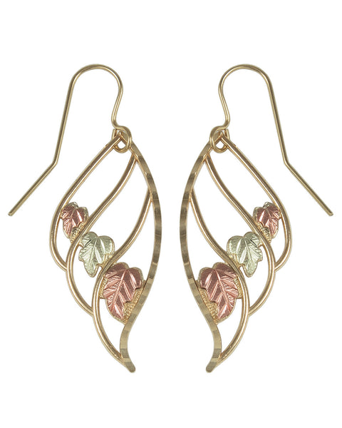 Black Hills Gold Elongated Three Leaf Earrings