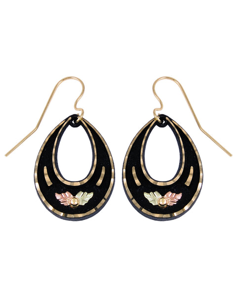Black Hills Gold Powder-Coated Teardrop Earrings - Wall Drug Store