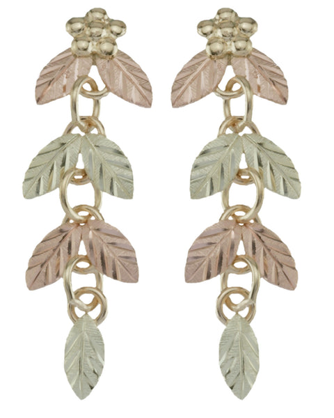 Black Hills Gold Elongated Leaf Earrings