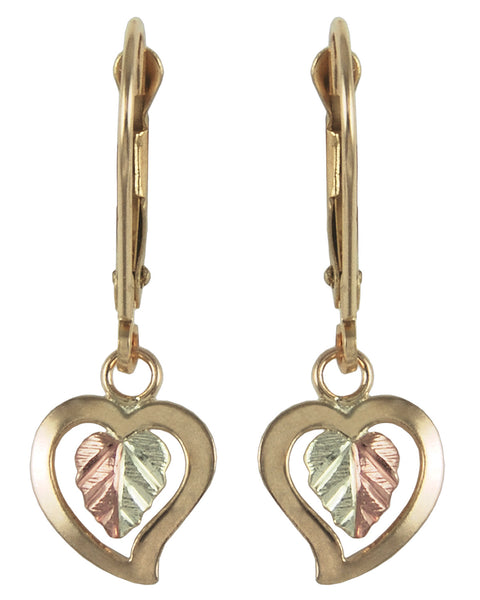 Black Hills Gold Drop Heart Earrings