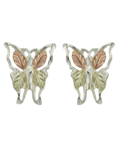 Black Hills Gold Sterling Silver Butterfly Earrings - Wall Drug Store