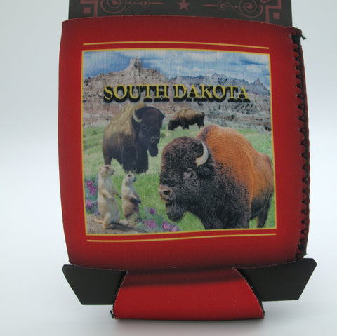 Red South Dakota Buffalo Koozie - Wall Drug Store