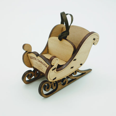 South Dakota Sleigh Wood Laser Cut Ornament - Wall Drug Store