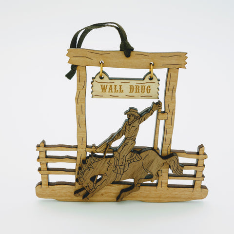 Wall Drug Buckin' Bronc Wood Laser Cut Ornament - Wall Drug Store