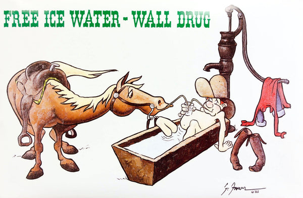 Vintage Wall Drug Free Ice Water Poster - Wall Drug Store