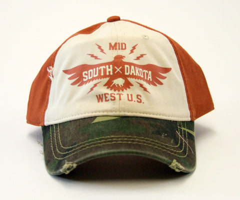 South Dakota Rust and Camo Baseball Hat with Eagle