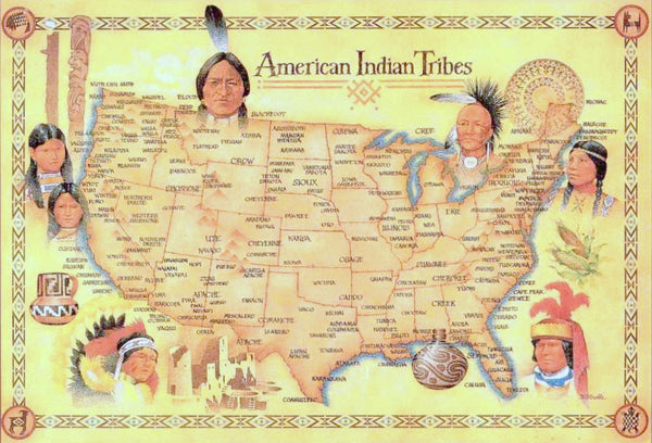 Indian Tribes In Us Map.American Indian Tribes Map Wall Drug Store