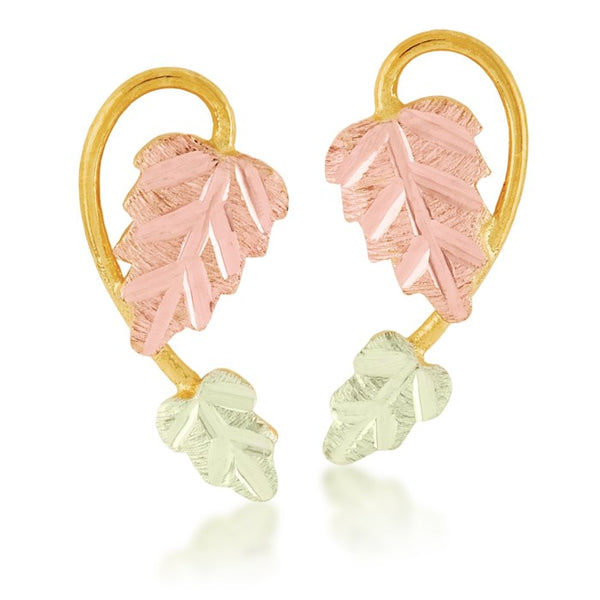 Black Hills Gold Vine Pink & Green Leaf Earrings in 10k Yellow Gold - Wall Drug Store