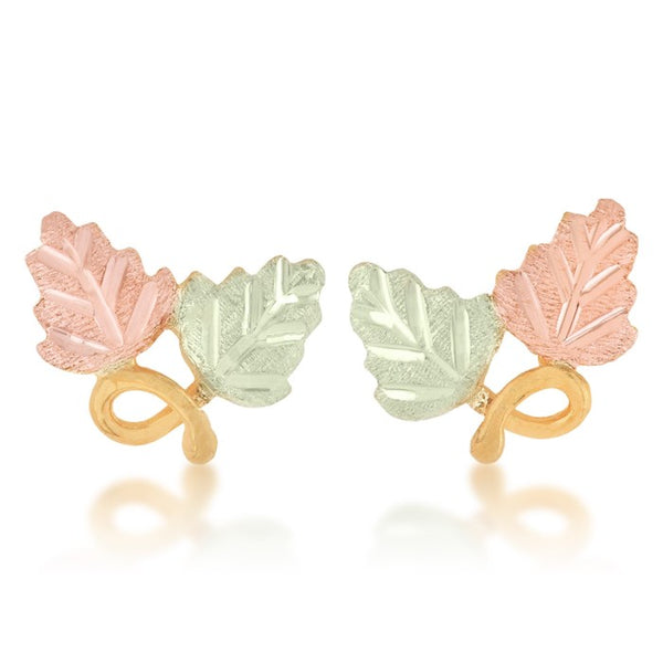 Black Hills Gold Pink & Green Leaf Earrings in 10k Yellow Gold