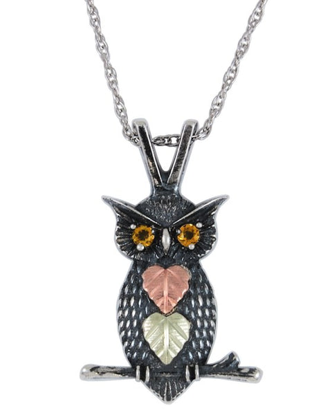 Black Hills Gold Owl Pendant with Citrine Eyes - Wall Drug Store