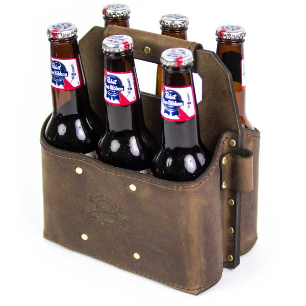 Leather beer caddy 6 pack carrier