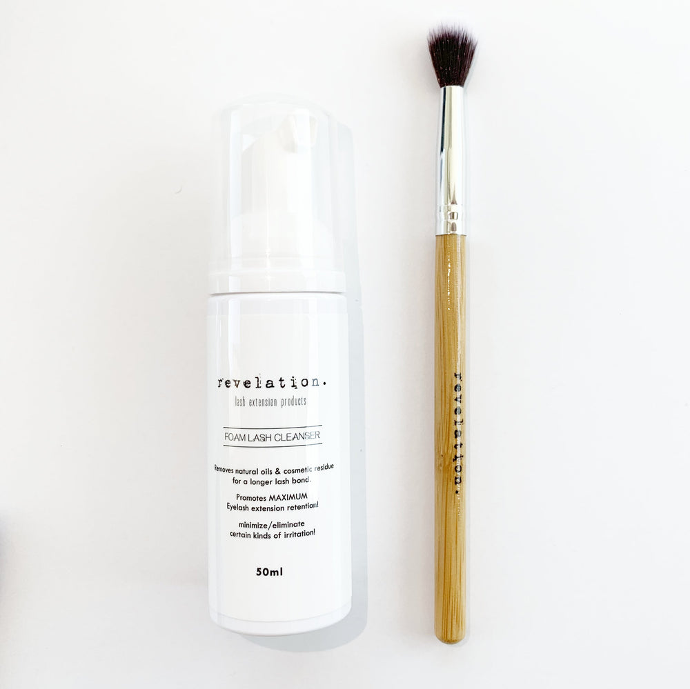 Load image into Gallery viewer, Image of Revelation Brand Eyelash Extension Lash Cleansing Foam, and Revelation Brand Makeup Brush.