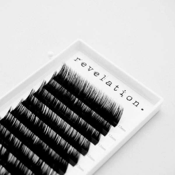 Top view of an Eyelash Extension Lash tray in L Curl Revelation Brand