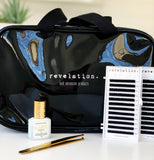 Image of Lash Carry bag, Elevate glue, and 2 of the 4 lash trays that come with the Eyelash Extension Kit to show the size of the bag.