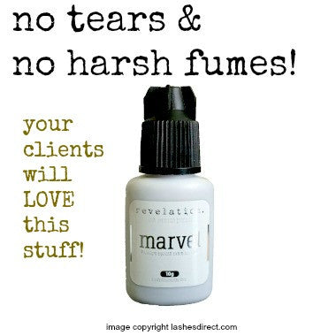 Marvel Eyelash Extension Glue by Revelation. Text includes, no tears & harsh fumes! Your clients will love this stuff.