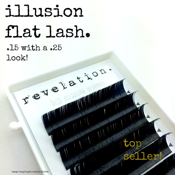 Illusion Flat Lash image of eyelash extension tray. Revelation Lash Extension Products logo