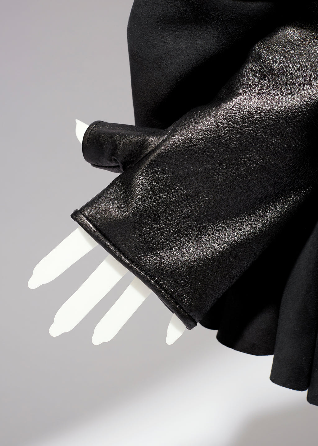 Fingerless Leather Opera Gloves with Ruffles