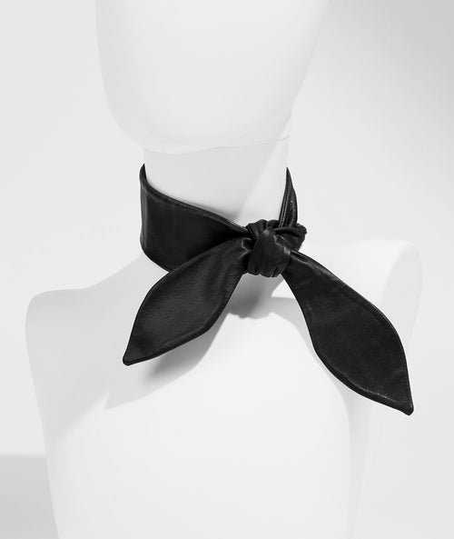 Leather Necktie - Black