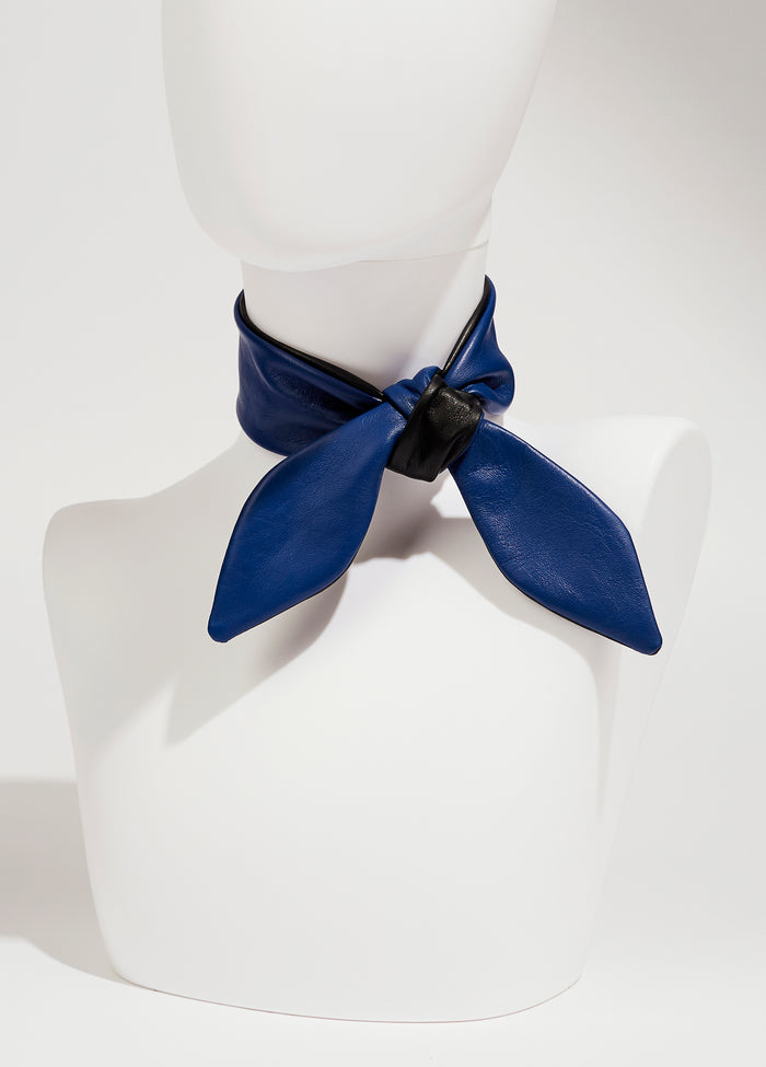 LEATHER NECKTIE - BLUE/BLACK