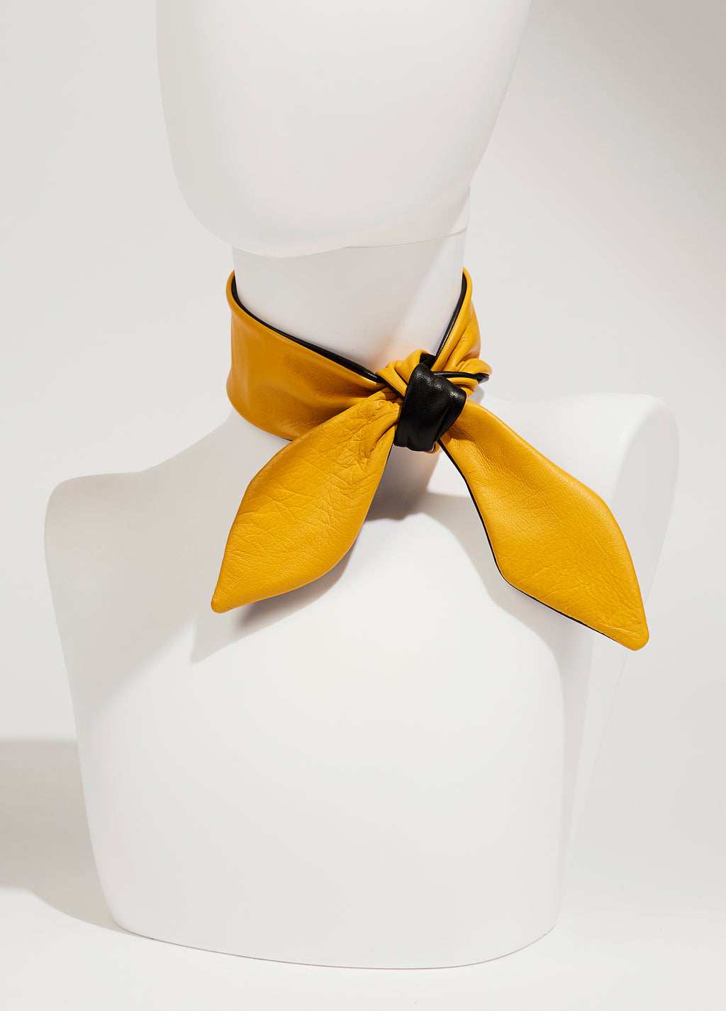 Leather Necktie - Yellow/black