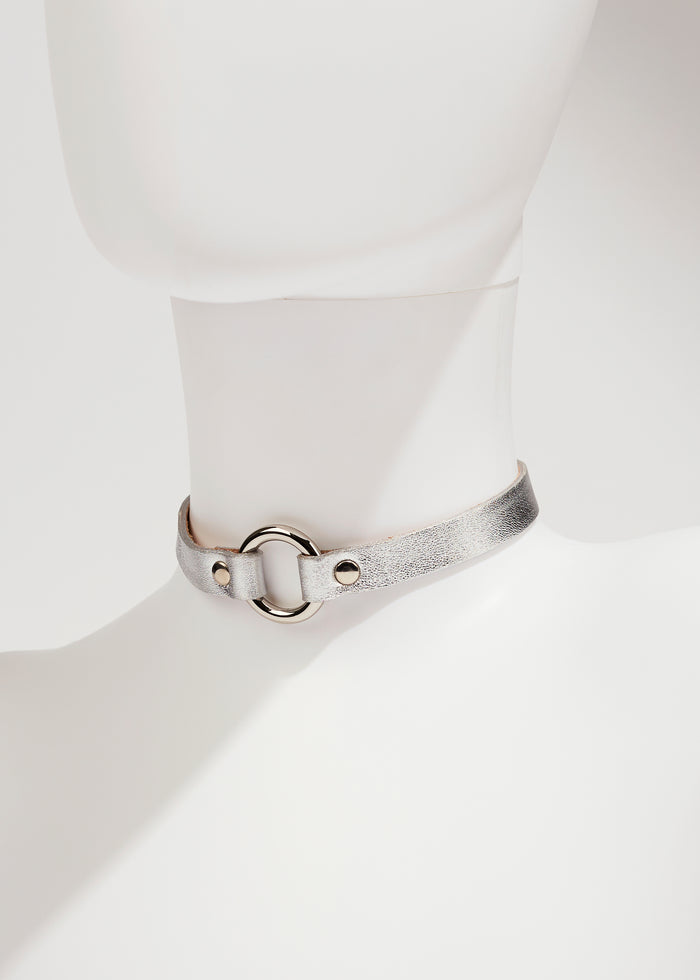 LAMBSKIN LEATHER CHOKER - SILVER