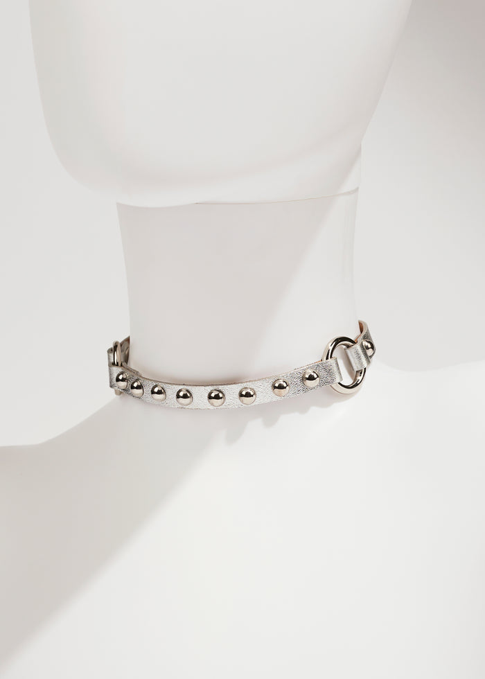 PUNKY LEATHER CHOKER - SILVER