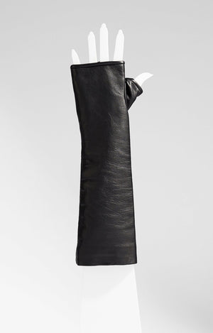 Classic Elbow Length Leather Fingerless Gloves