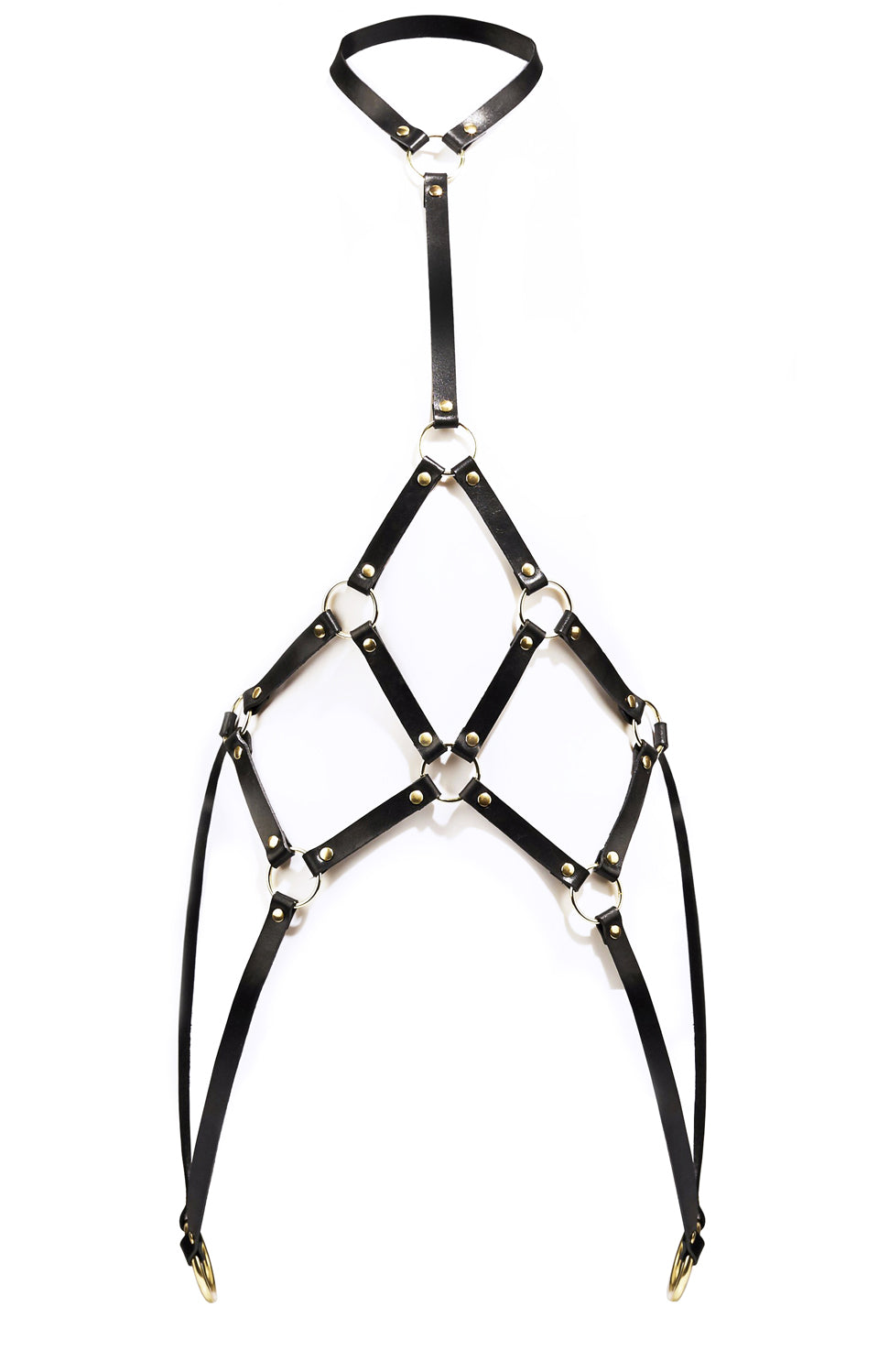 Rebel Mama X UNCUFFED Winter White Cage Leather Body Harness