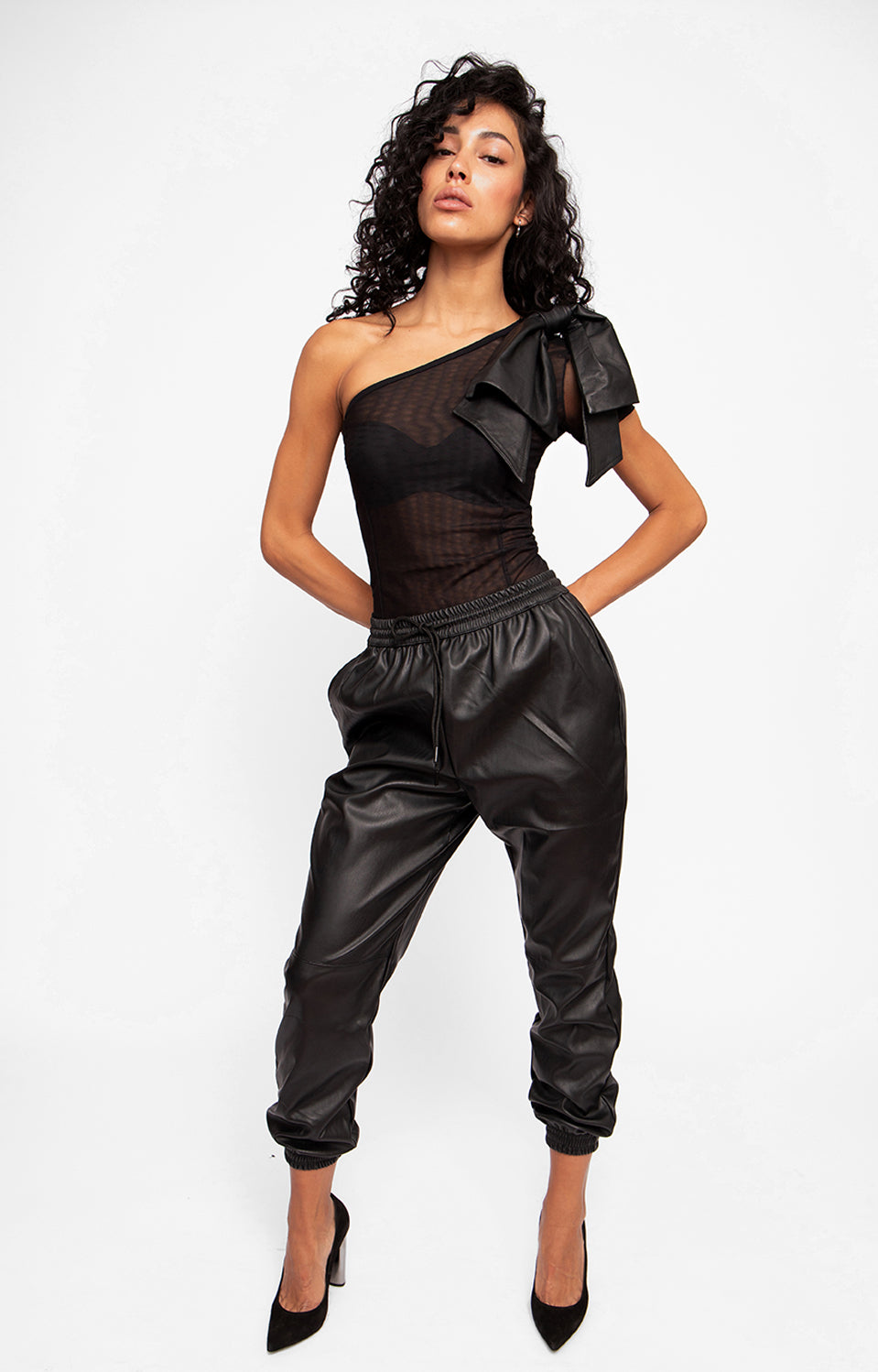 Cold Shoulder Leather Bodysuit