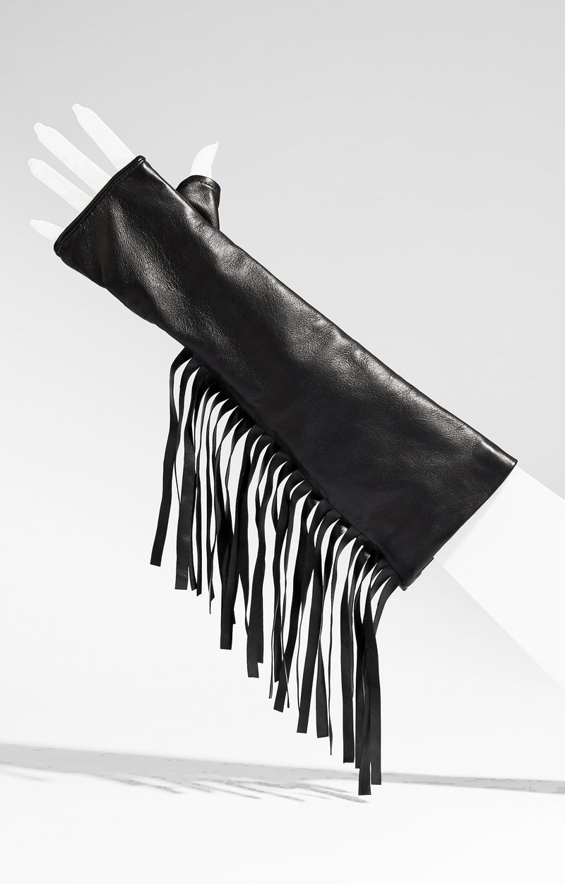 Fringe Elbow Length Leather Fingerless Gloves