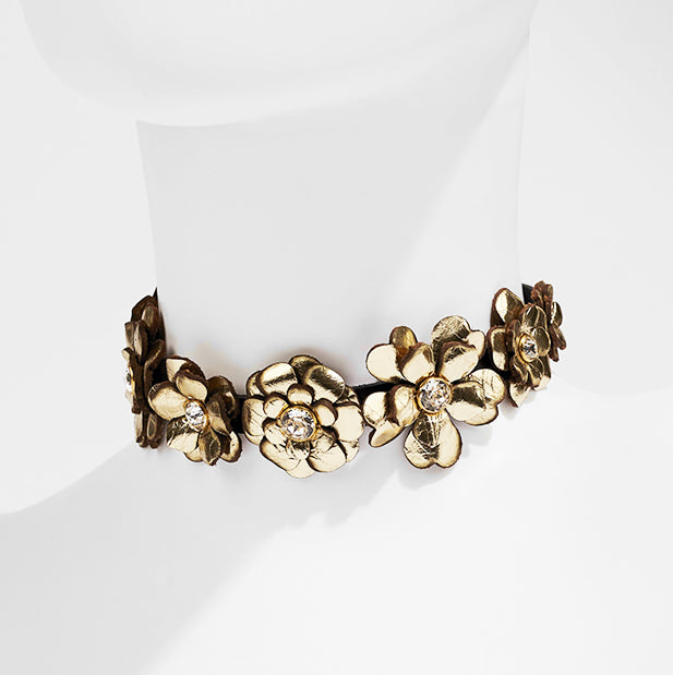 Leather Choker: Gold Florals with Swarovski Crystals
