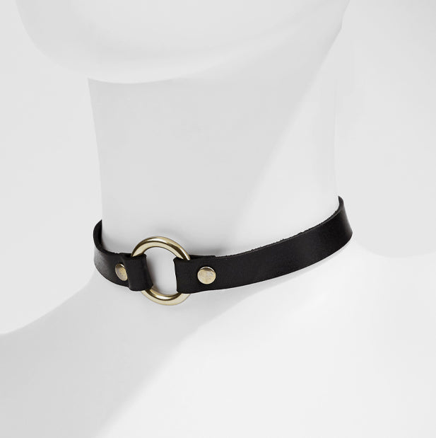 Leather Choker: O-Ring Style