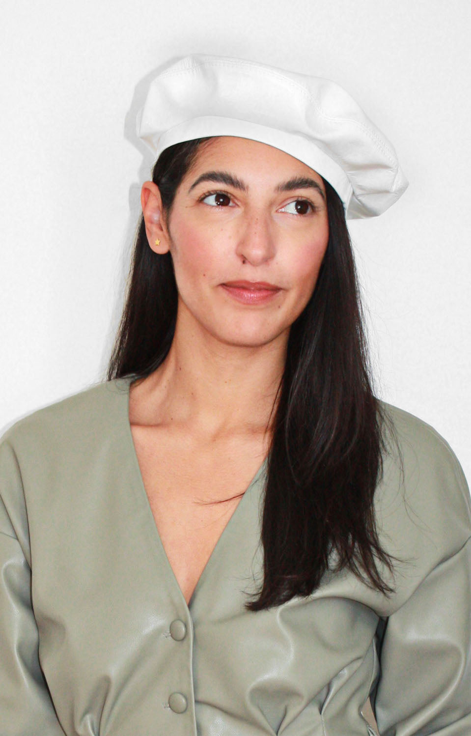 Rebel Mama X UNCUFFED Winter White Leather Beret