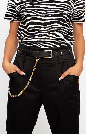 Leather Scrunchie Belt with Removeable Chain