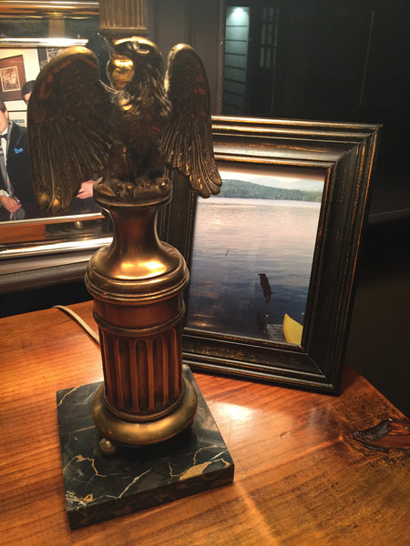 Pair of Antique Brass Eagle Lamps